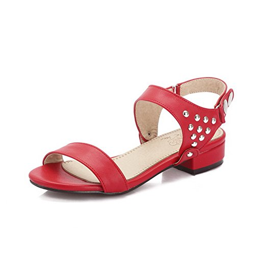 AmoonyFashion Womens Buckle Low-heels PU Solid Open-Toe Sandals Red doqYk1fr