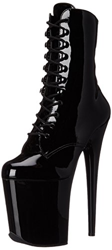 Pleaser Women's Flam1020/B/M Boot, Black Patent/Black, 7 M (Pleaser Boots)