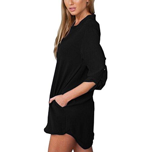 ZANZEA Mujeres Bluas Con Manga Larga V Cuello Camisa BLouses T Shirt Pullover Tunica OL Sólido Color (ES 40, Negro)