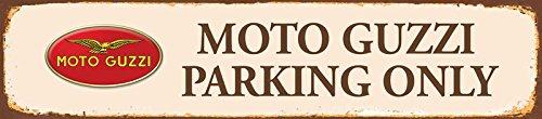 Moto Guzzi Parking Only Strassenschild ruggine Motorrad 46x 10cm Targa in Latta, Metal Sign, Tin ComCard