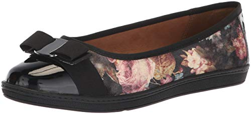 (Soft Style by Hush Puppies Women's Faeth Ballet Flat, Black Floral Printed Velvet, 12 W)