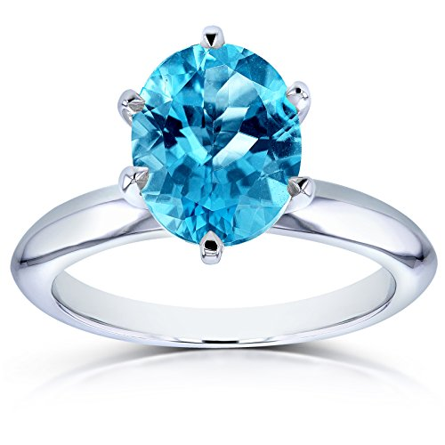 Oval Cut Swiss Blue Topaz Solitaire 6-prong Ring 2 Carats 14k White Gold, 8