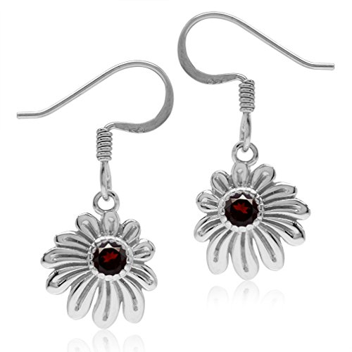 Silvershake Girls Petite Natural Garnet 925 Sterling Silver Flower Dangle Hook Earrings