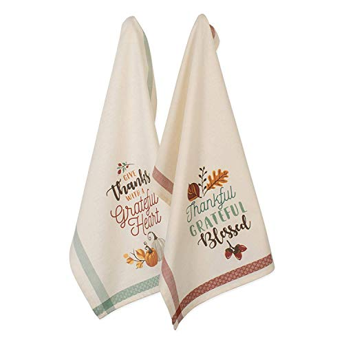 DII Cotton Thanksgiving Holiday Dish, Decorative Oversized Embroidered Kitchen Towels, Set of 2, Grateful Fall, 2 Pack - Hand Embroidered Dish Towel