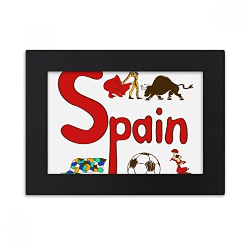 DIYthinker Spain National symbol Landmark Pattern Desktop Photo Frame Black Picture Art Painting 5x7 inch by DIYthinker