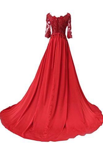 da lunghe serate in con da occasioni pizzo per Fuchsie e speciali stile romantico lungo ideale abito maniche sera donna Ivydressing EwWnqvCSS