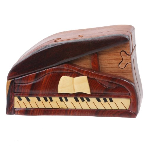Handcrafted Wooden Musical Instrument Secret Jewelry Puzzle Box - Piano, Walnut