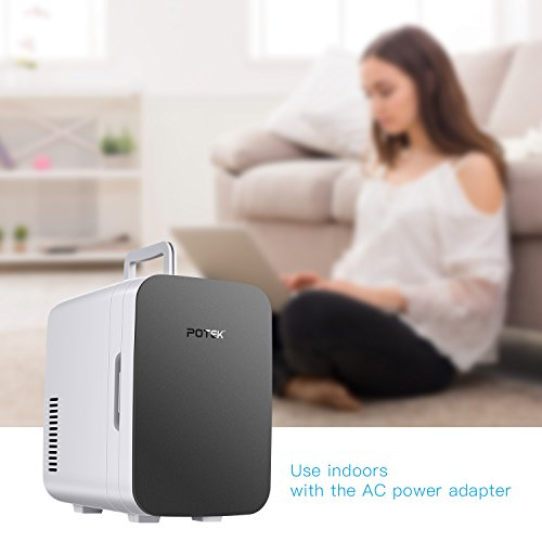POTEK Mini Fridge Electric Cooler and Warmer (6 Liter / 6 Can) :AC 110V/ DC 12V Portable Thermoelectric System,For Car /Indoor /Outdoor (Silver Grey) by POTEK (Image #3)