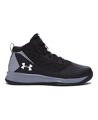 Under Armour Boys' Pre-School Jet Mid Basketball Shoes, Black/Steel, 13.5K
