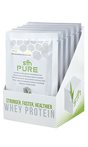 PURE Whey Protein Powder (Vanilla) by SFH | Best Tasting 100% Grass Fed Whey | All Natural | 100% Non-GMO, No Artificials, Soy Free, Gluten Free | Single Serve 10 Count