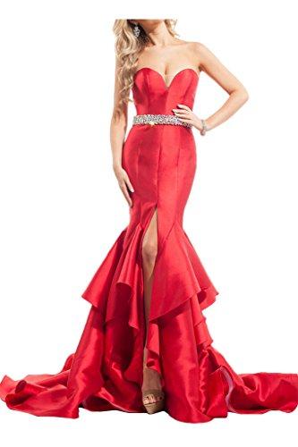 La_mia Braut Damen Rot Meerjungfrau Abendkleider Partykleider Festlichkleider mit Steine Guertel