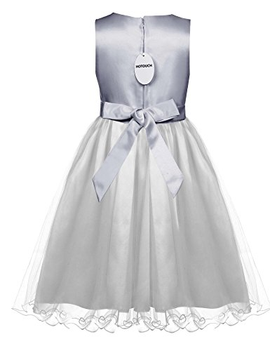 HOTOUCH Flower Girls' Sequin Tulle Wedding Pageant Party Dress Silver 7T
