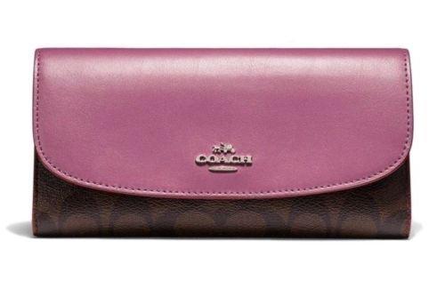COACH Signature Canvas Checkbook Wallet F57319 Brown/Pink Azalea - Signature Checkbook Wallet