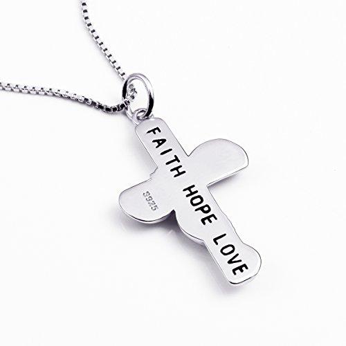 Argent sterling 925Oxyde de zirconium Faith Hope Love Pendentif en forme de croix, chaîne de boîte 45,7cm