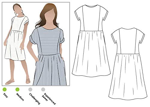 Style Arc Sewing Pattern - Lacey Dress (Sizes 04-16) - Click for Other Sizes Available - Silk Jersey Fabric Knit