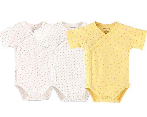Baby Boys Girls Short Sleeves Kimono Onsies Cotton Baby Side-snap Bodysuit Pack of Cardigan Onsies for Infants (0-3 Months)