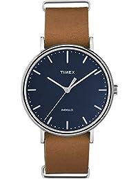Timex Unisex TW2P97800GP Fashion Weekender Fairfield Blue Dial Tan Leather Strap 41mm