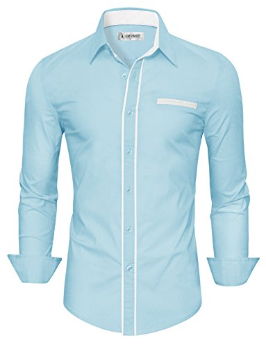 sic Slim Fit Contrast Trim Longsleeve Shirt TWCMS03-SKYBLUE-US S ()