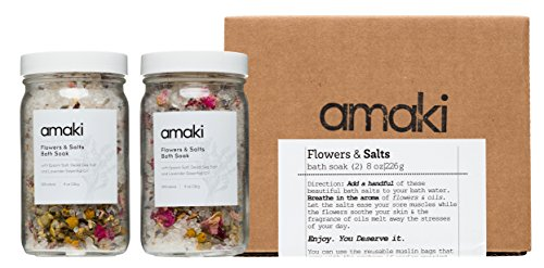 - Herbal Bath Soak Blend of Epsom and Dead Sea Salt Infused with Lavender Essential Oil - For Stress Relief, Reduce Sore Muscle, Skin Soothing - Luxury Gift Set of 2, 8 ounces Jars!
