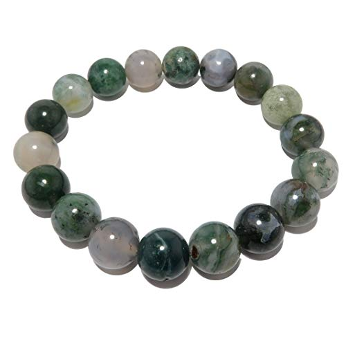 Agate Moss Bracelet 11mm Boutique Fresh Green Clear Globe Bead Genuine Gemstone Healing Crystal Handmade B01
