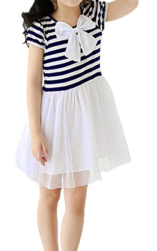 eshion Child Toddlers Kids Girl's Bow Stripe Net Yarn Short Sleeve Bubble Dresses ()
