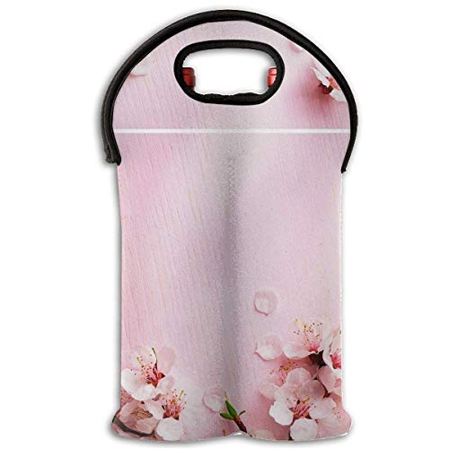 Peach Blossom Pink Wood 2 Bottle Wine Tote Carrier Bag Portable Insulated Polyester Beer Hand Bag for Travel,Picnic,Party