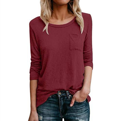 Longue Femme Vin Quotidienne Haut Poche Shirt T Manche Blouse Casual AIMEE7 Soild Rouge Tops WqISERR