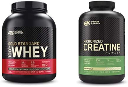 Optimum Nutrition Gold Standard Whey Protein Powder, Double Rich Chocolate with Micronized Creatine Monohydrate Powder, Unflavored, Bundle Pack