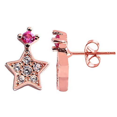 Artilady CZ Stud Earrings for Women - 925 Sterling Silver Earrings Tiny Cubic Zirconia Stud Earrings, Unique Gifts for Lovers (Star Rose -