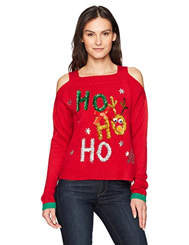 Blizzard Bay Women's Cold Shoulder Christmas Pullover, red, Medium