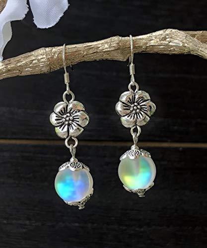 Handmade Frosted White Mermaid Glass Flower Dangle Earrings by BeSheek