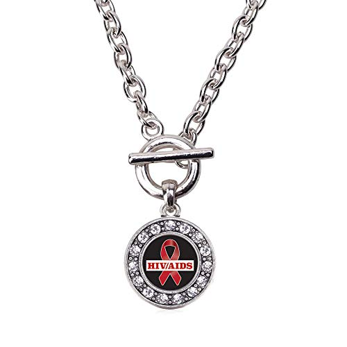 Inspired Silver - HIV/AIDS Awareness Ribbon Toggle Charm Necklace for Women - Silver Circle Charm 18 Inch Necklace with Cubic Zirconia Jewelry ()