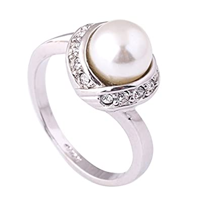 Acefeel Elegant White Imitation Pearl and Czech Drilling Fashion Cocktail Ring for Women R103