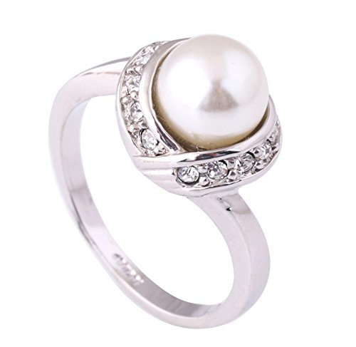 [Acefeel Elegant White Imitation Pearl and Czech Drilling Fashion Cocktail Ring for Women R103 Size] (Czech Costumes Jewelry)