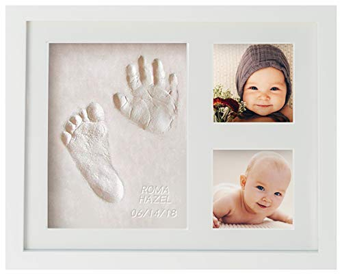 Baby Handprint and Footprint Memory Frame Kit | Clay and Photo Keepsake Registry or Shower Gift | First Impressions by WavHello | Includes Free Digital Content in The WavHello VoiceShare app
