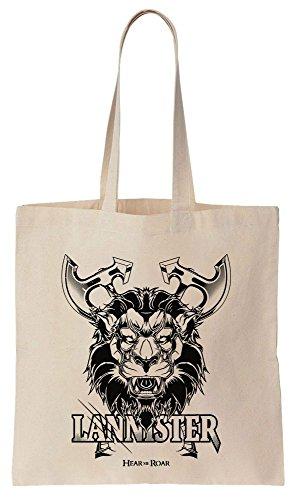 Lanisters Emblem With Lion Hear Me Roar Sacchetto di cotone tela di canapa