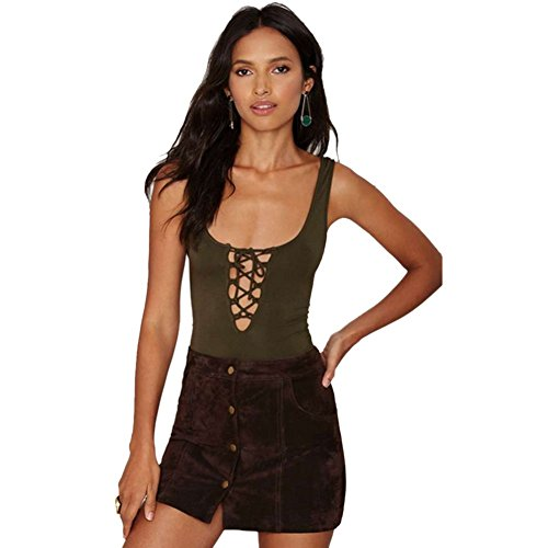 090ad6dc33 Blooming Jelly Women s Stretch Lace up Tank Leotard Bodysuit Jumpsuit