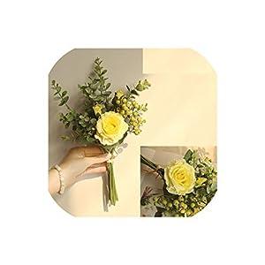 Berry Eucalyptus and Pink Rose Spring Summer Wedding Boho Bridal Bridesmaids Flower Girl Wedding Bouquet,Yellow