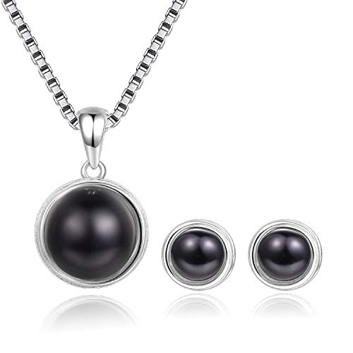 EVERU Pearl Jewelry Set Sterling Silver with AAAA Freshwater Cultured Pearls Stud Earrings and Necklace Sets for Women (Black) ()
