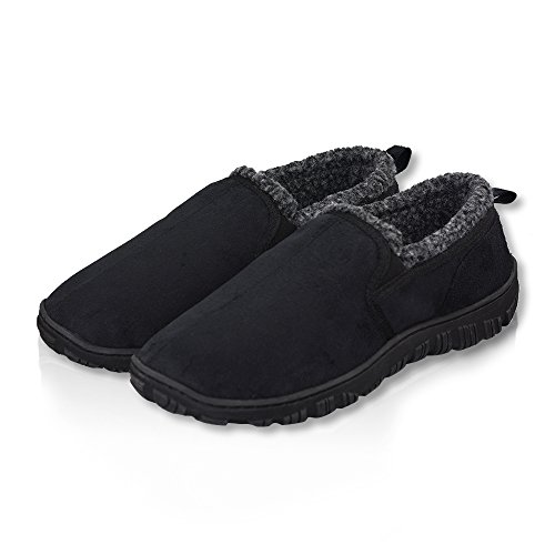 LA PLAGE Mens Swiss Plush Advanced Indoor/Outdoor Anti-Slip Moccasin House Slippers for Men