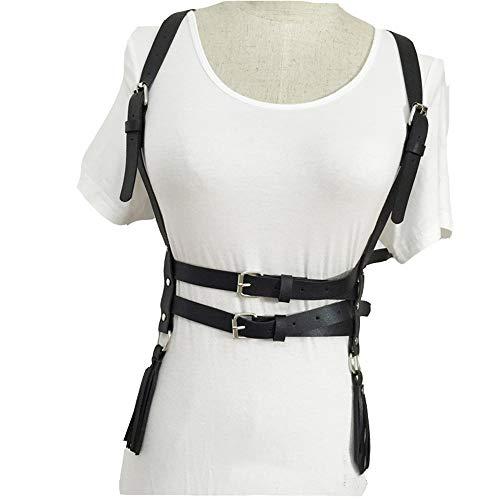 - Body leather harness Leather Adjustable Body Chest Harness Belt Women Gothic Punk Faux Fancy Waist Belt Suspenders Tassel Body Belts Nightclub Costumes Adjustable belt with faux leather punk belt