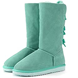 2018 Fashion Women Long Boots Genuine Cow Leather Snow Boots Warm High Winter Boots,Green Lake,9