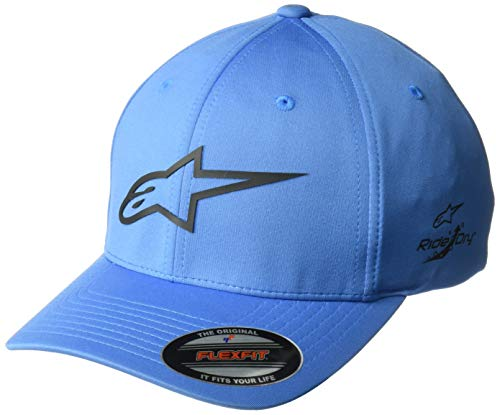 Alpinestars Men's Logo Flexfit tech hat, cuvred Bill Structured Crown, Ageless Sonic Blue/Black, LXL