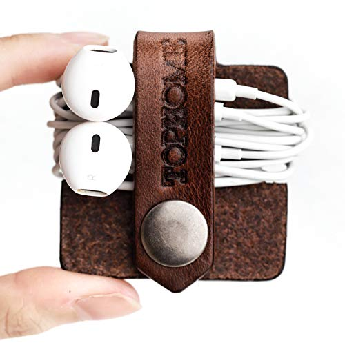 TOPHOME Cord Organizer Holder Headset Headphone Earphone Wrap Winder/Cord Manager Cable Winder with Genuine Leather Handmade Brown