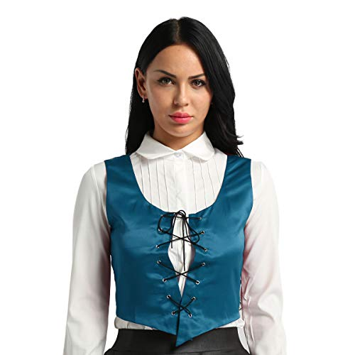 Freebily Women Renaissance Wench Halloween Costume Reversible Peasant Bodice Lace Up Vest Top Teal Medium