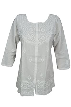 Bohemian Chic Designs Ladies White Tunic Embroidered Chikankari Blouse Top Casual (Small/Medium)
