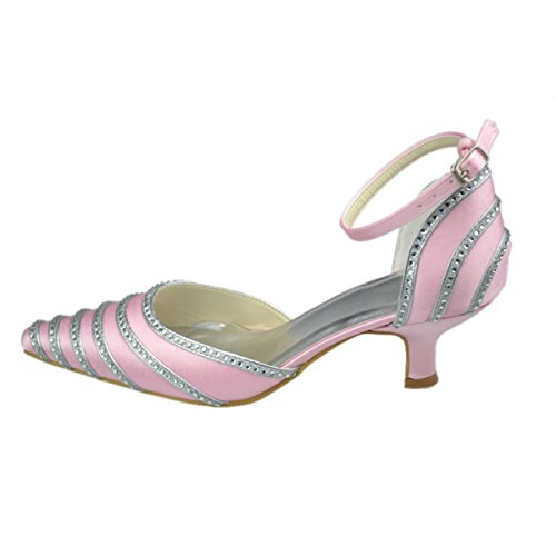 Minitoo GYAYL120P Womens Kitten Heel Leopard Satin Evening Party Bridal Wedding Sparkle Strappy Crystal Shoes Pink vo2fsY