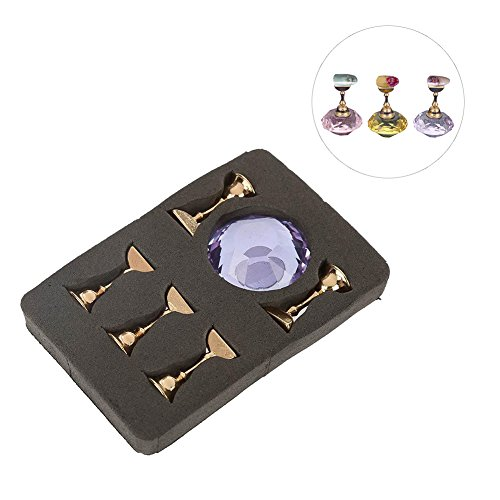 Magnetic Nail Tip Oval Crystal Practice Stand Base Alloy Holder Nail Art Display Stand(Purple)
