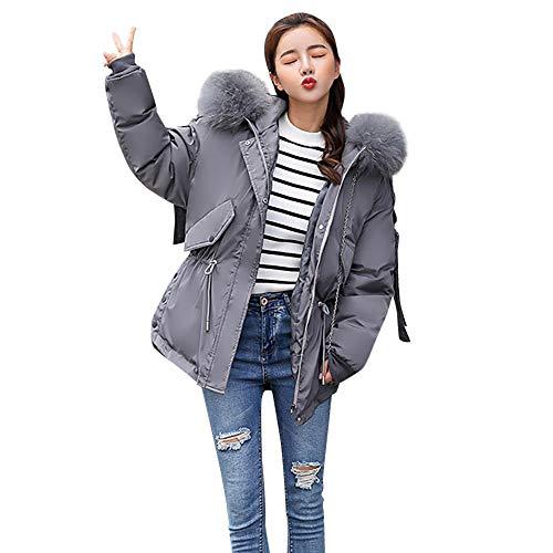 Femme Chaud Jacket Tops Parka Manteau Mode Capuche Long Casual Taille Blouson Grande Binggong Oversize Fourrure Gris Hiver Doudoune Faux Veste AEqnffdw
