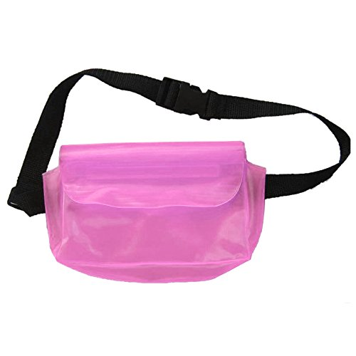 Meanhoo Waterproof Fanny Pack for unisex with -Zipper Pockets, Water Bottle Holder and Cell Phone Pouch - Fanny Pack for Hiking Cycling Climbing Travel- Pink ()